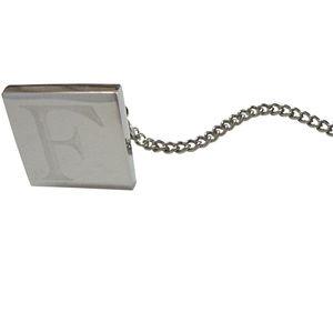 Letter F Etched Monogram Pendant Tie Tack